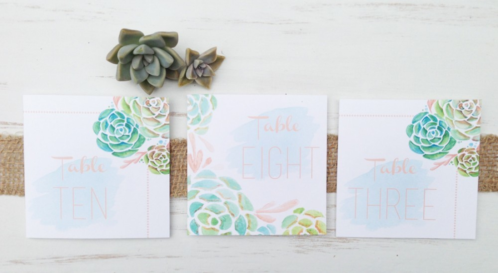 Stamped Succulent Table Numbers
