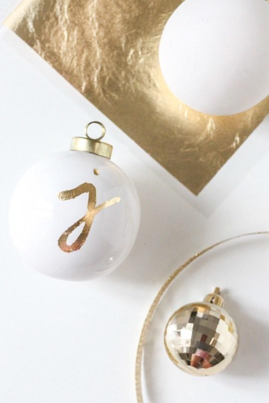 DIY monogrammed gold ornaments