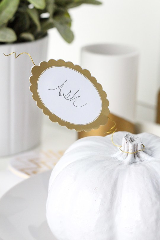 white pumpkin place cards