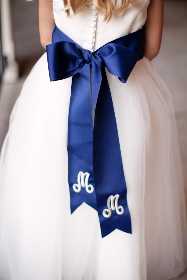 Blue and white monogramed flower girl sash