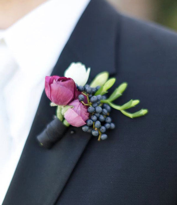 berry wedding boutonniere