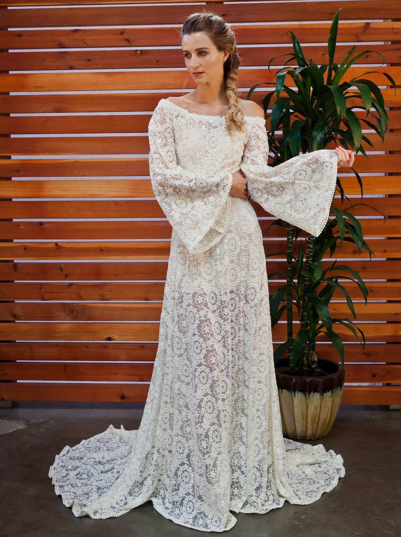 Bell Sleeve Boho Wedding Dress