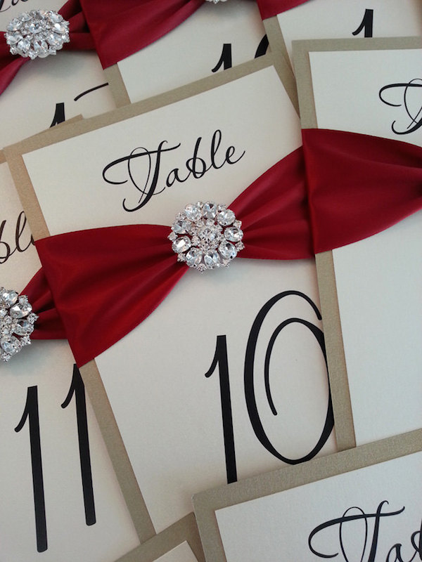 Table numbers with red ribbon