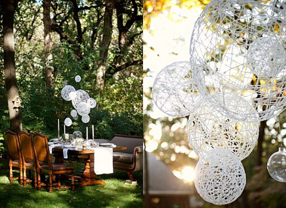 Hanging spheres decor for bohemian chic wedding table