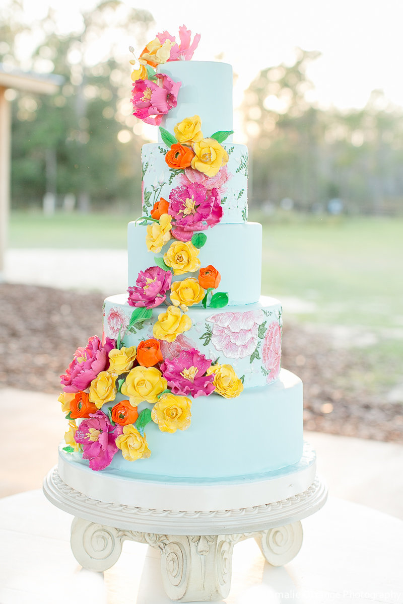 tall aqua cake