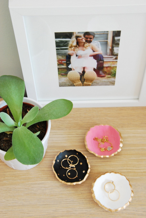 DIY gold foil clay jewelry bowls