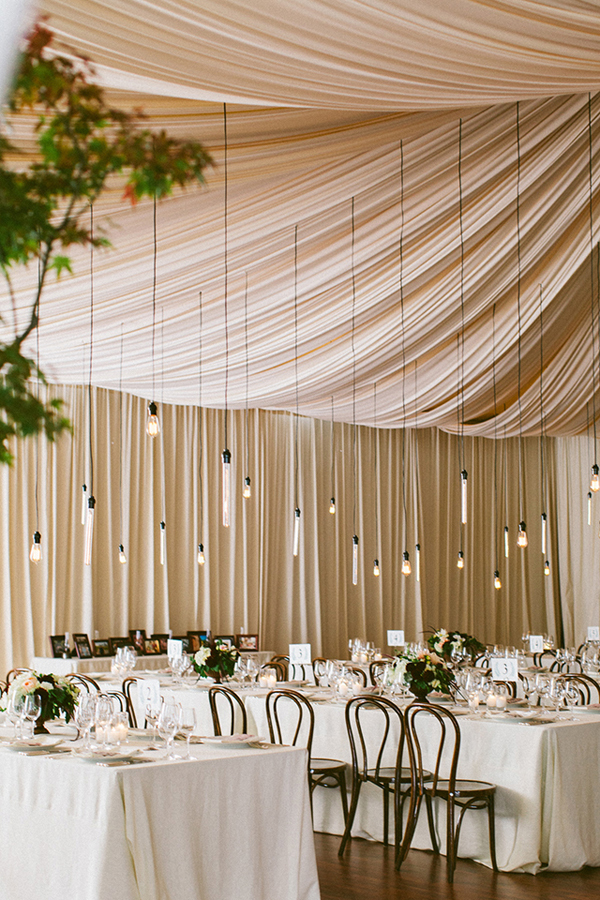 Hanging light bulb decor for elegant tent wedding