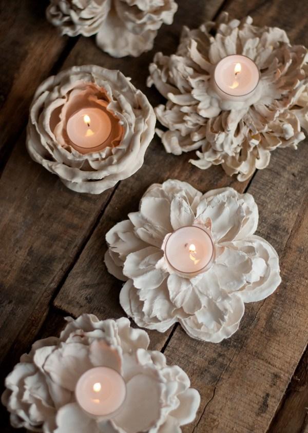 DIY Plaster Flower Votives