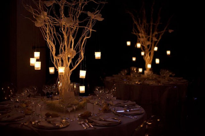 tea lights on branches