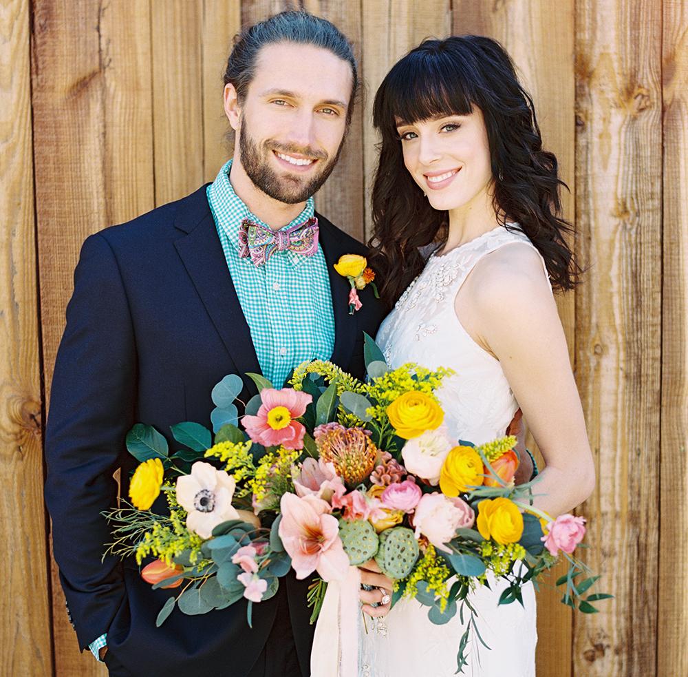 Colorful wedding photo