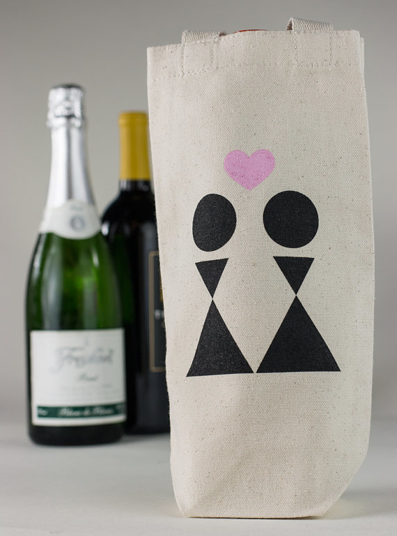 Wine Totes for Same Sex Wedding Favors by Towne9