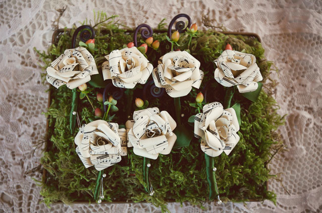Music wedding boutonnieres