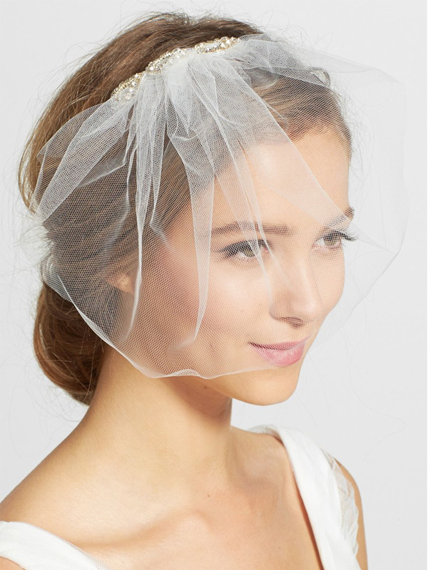 Crystal Comb Tulle Blusher Veil