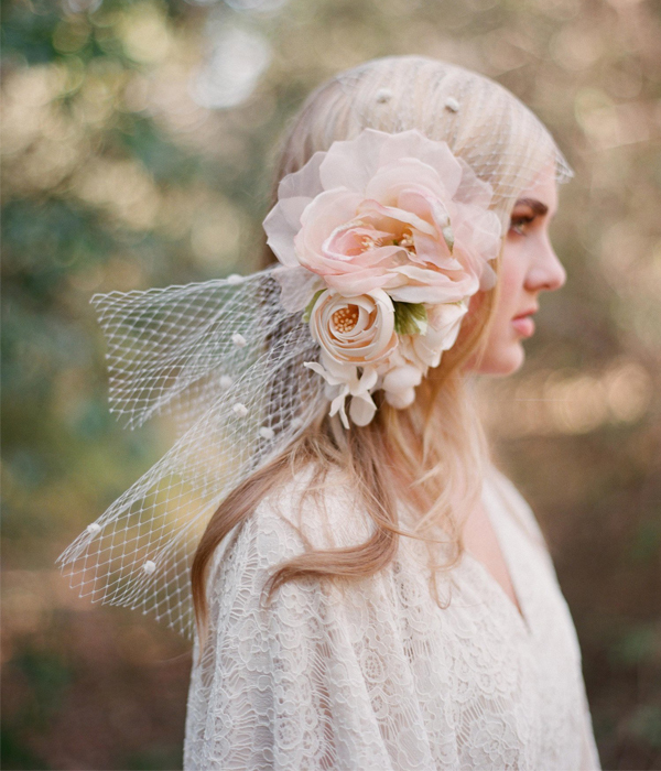 Silk Flower Bandeau Veil