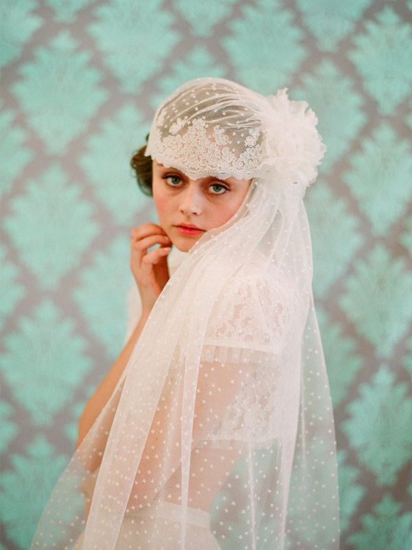 French-Inspired Bridal Lace Cap With Veil