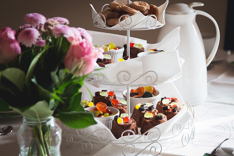 high tea with cakes