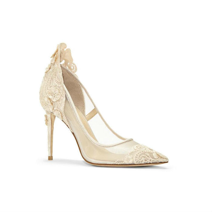Imagine Ophelia Lace-Appliqued Mesh Pump