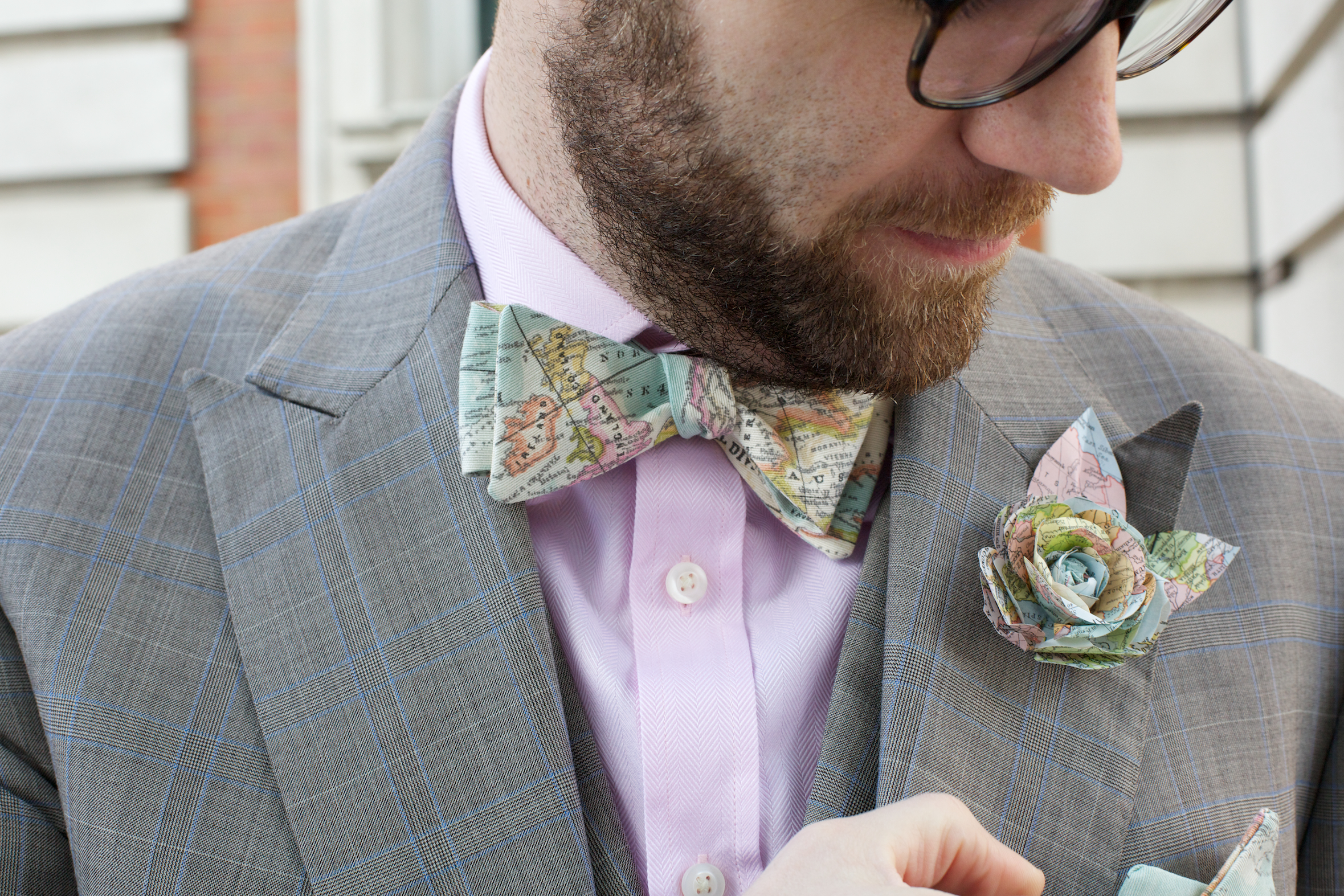 Vintage Map Boutonniere and Bow Tie