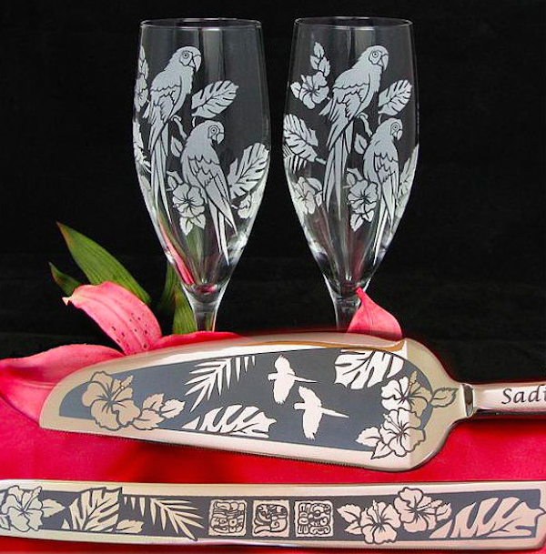 Themed wedding glasses and serving tools