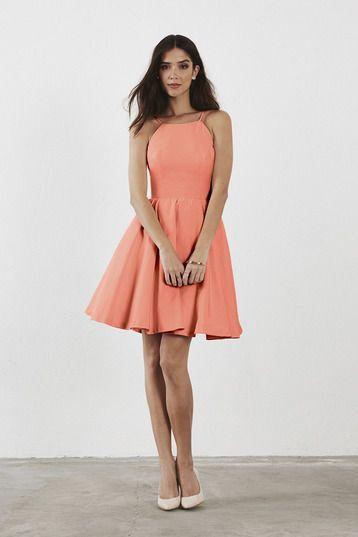 coral knee length bridesmaid dress