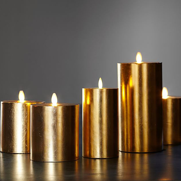 gold flameless candles