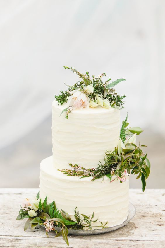 white greenery wedding cake