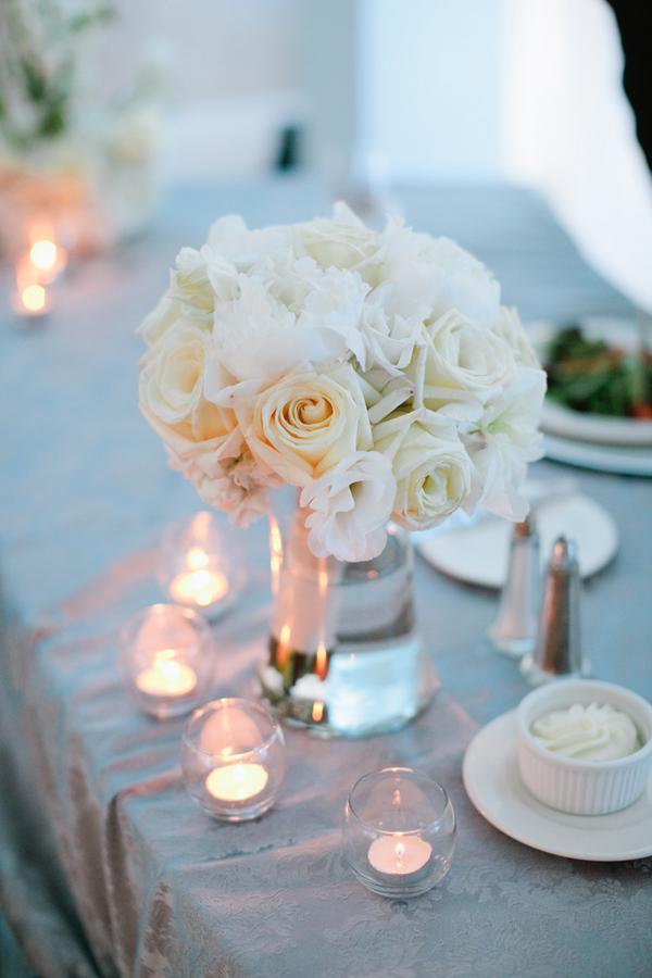 ivory rose centerpiece