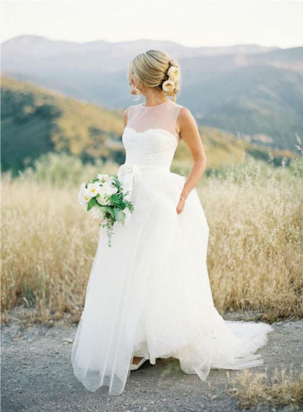 Simple illusion wedding dress