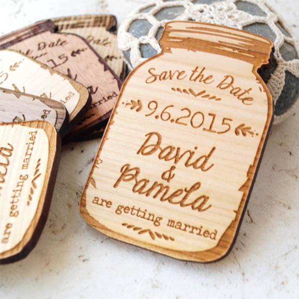 Wood Mason Jar Save the Date Magnets