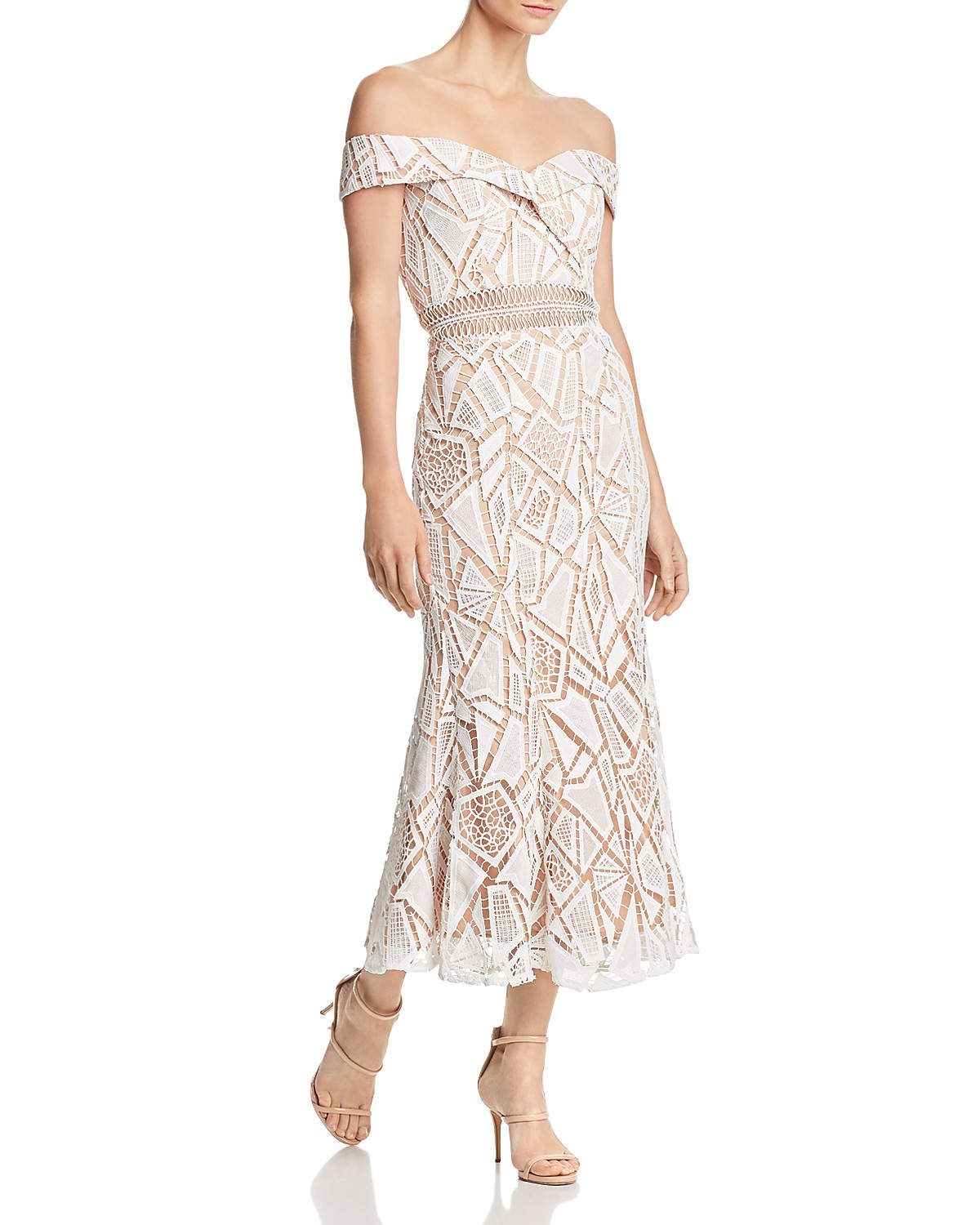 Jarlo Off-the-Shoulder Lace Midi Dress