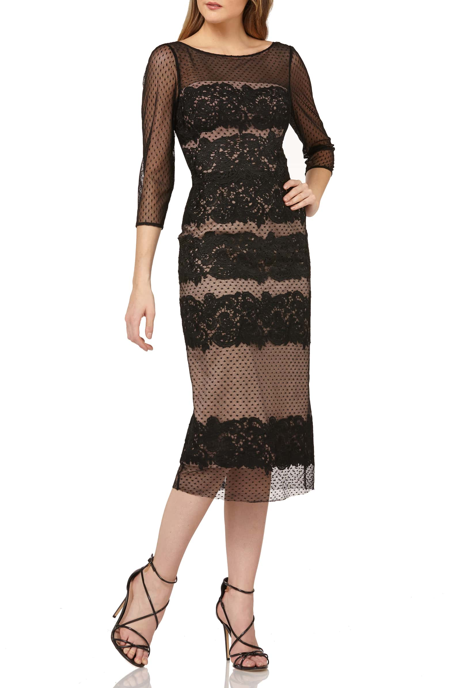 JS Collections Embroidered Midi Dress
