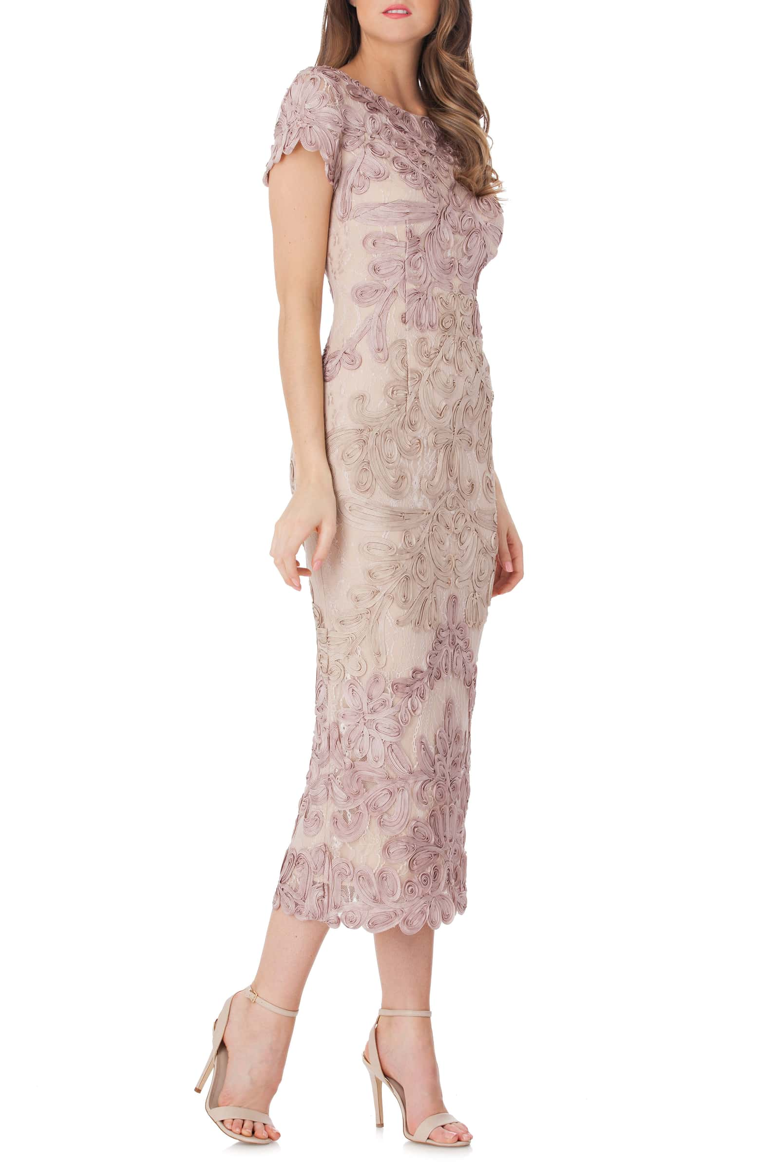 JS Collections Soutache Lace Midi Dress in Pink/Sand