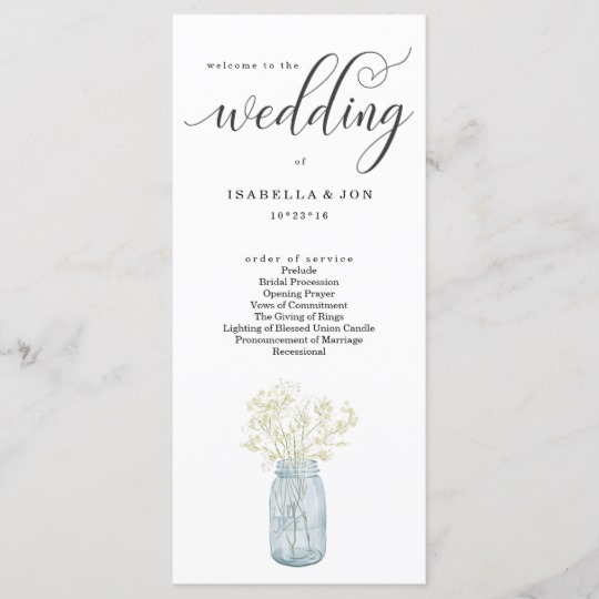 Rustic Wedding Program Mason Jar