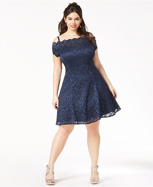 Morgan & Company Trendy Plus-Size Lace Fit & Flare Dress