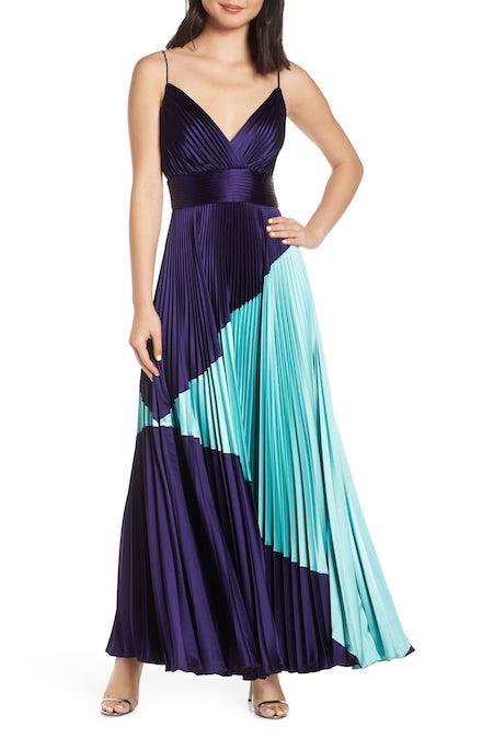 Jill Stuart Colorblock Pleated Gown