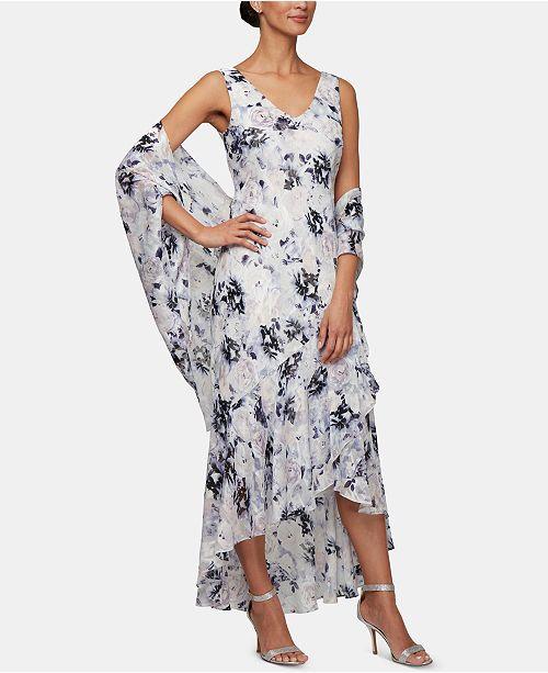 Alex Evenings Lilac Floral Gown