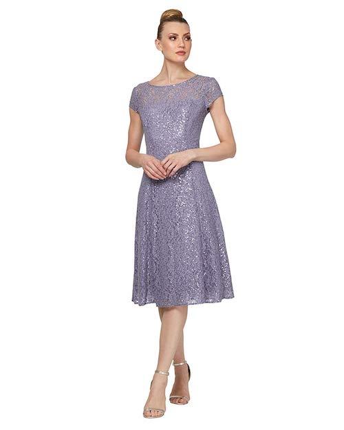 Davids's Bridal Cap Sleeve Sequin Lace Tea-Length Cocktail Dress