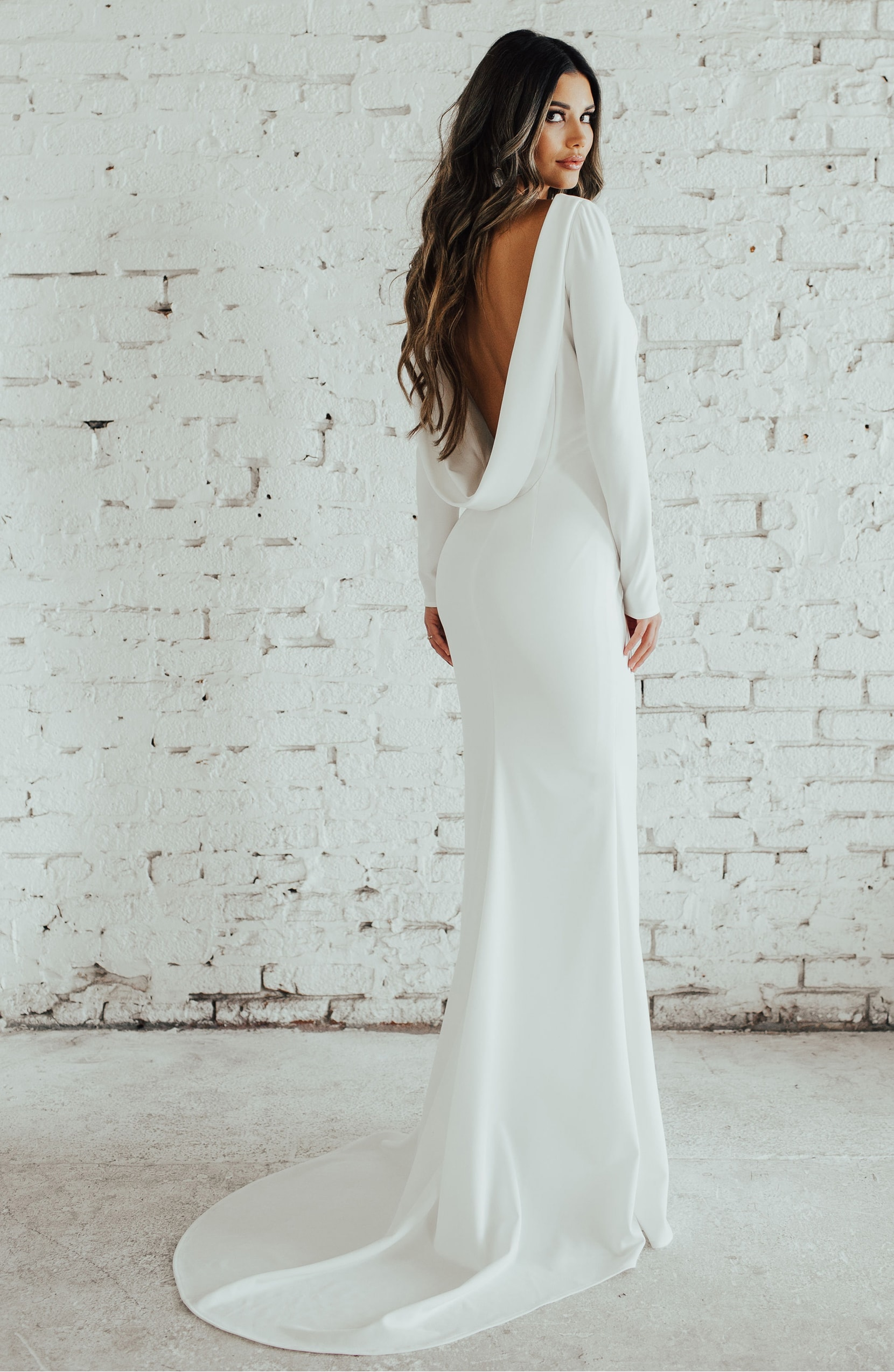 Noel and Jean By Katie May Cowl Back Crepe Gown