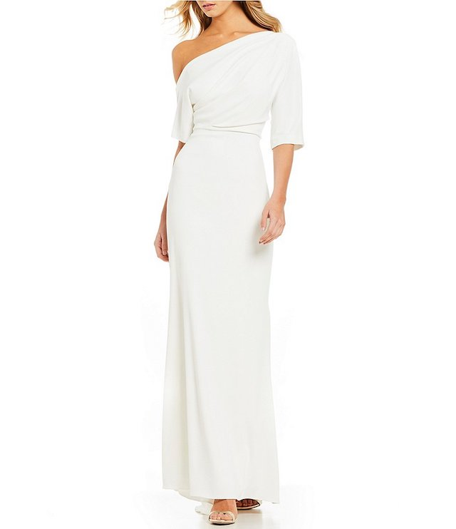 Badgley Mischka One-Shoulder Fitted Gown
