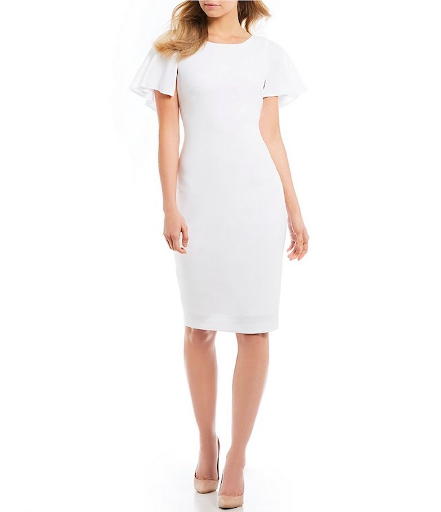 Calvin Klein Flutter Cape Sleeve V-Back Sheath Dress