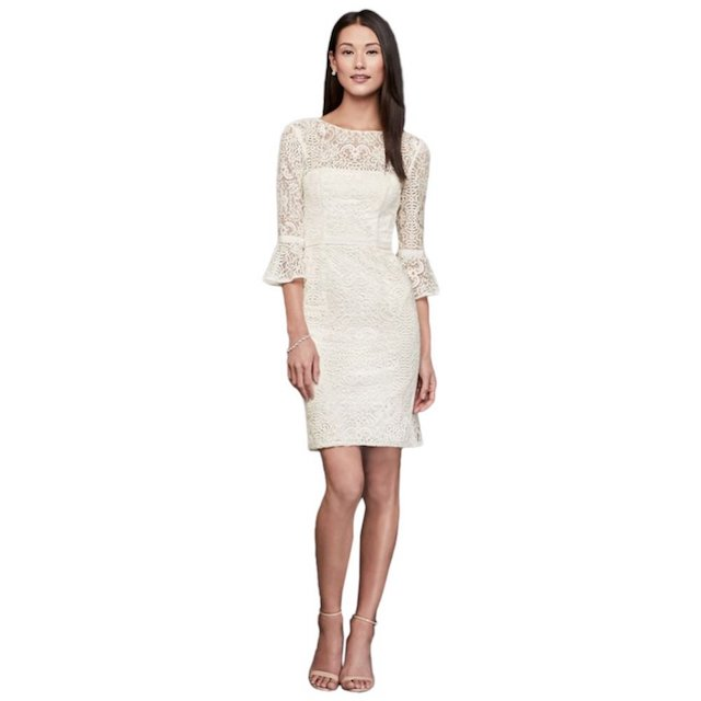 David's Bridal Short Illusion Lace Dress with Three-Quarter Bell Sleeves