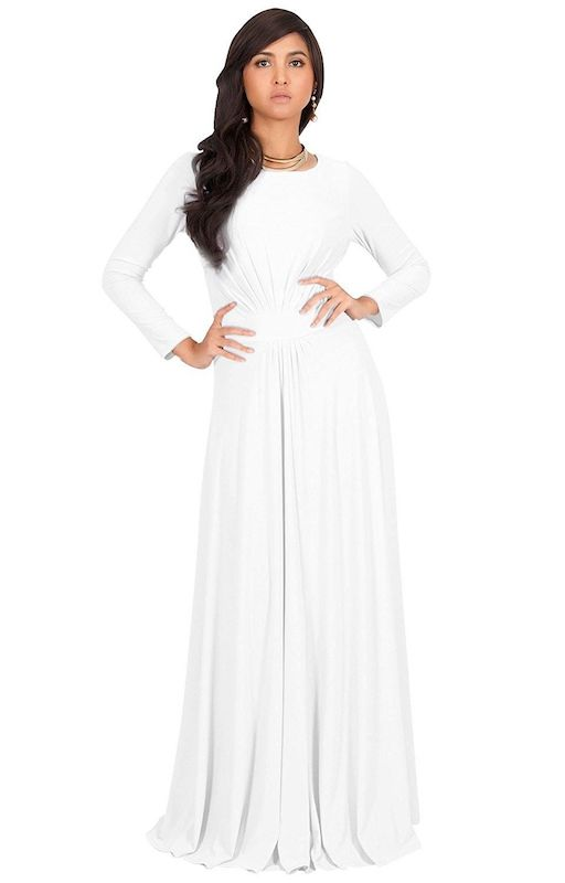 KOH KOH Sleeve Flowy Empire Waist Gown