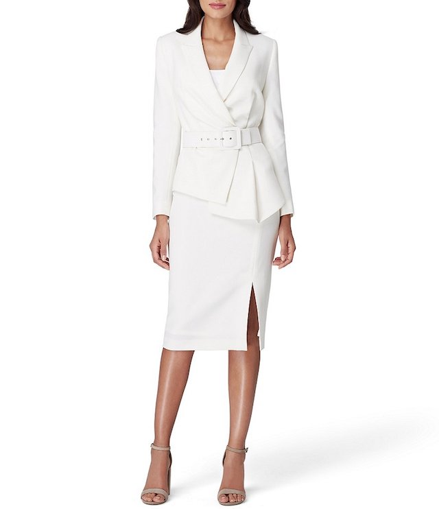 Tahari ASL Asymmetrical Belted Skirt Suit