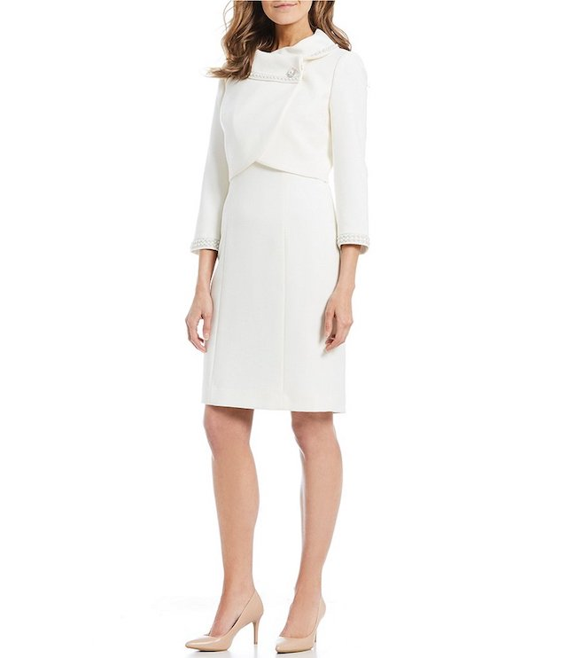 Tahari ASL Pearl Trim Three-Quarter Sleeve Jacket Dress Suit