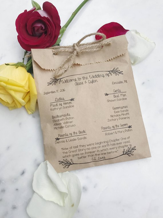 Rustic Wedding Program Paper Bag