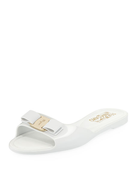 Salvatore Ferragamo Cirella Flat PVC Jelly Bow Slide Sandals