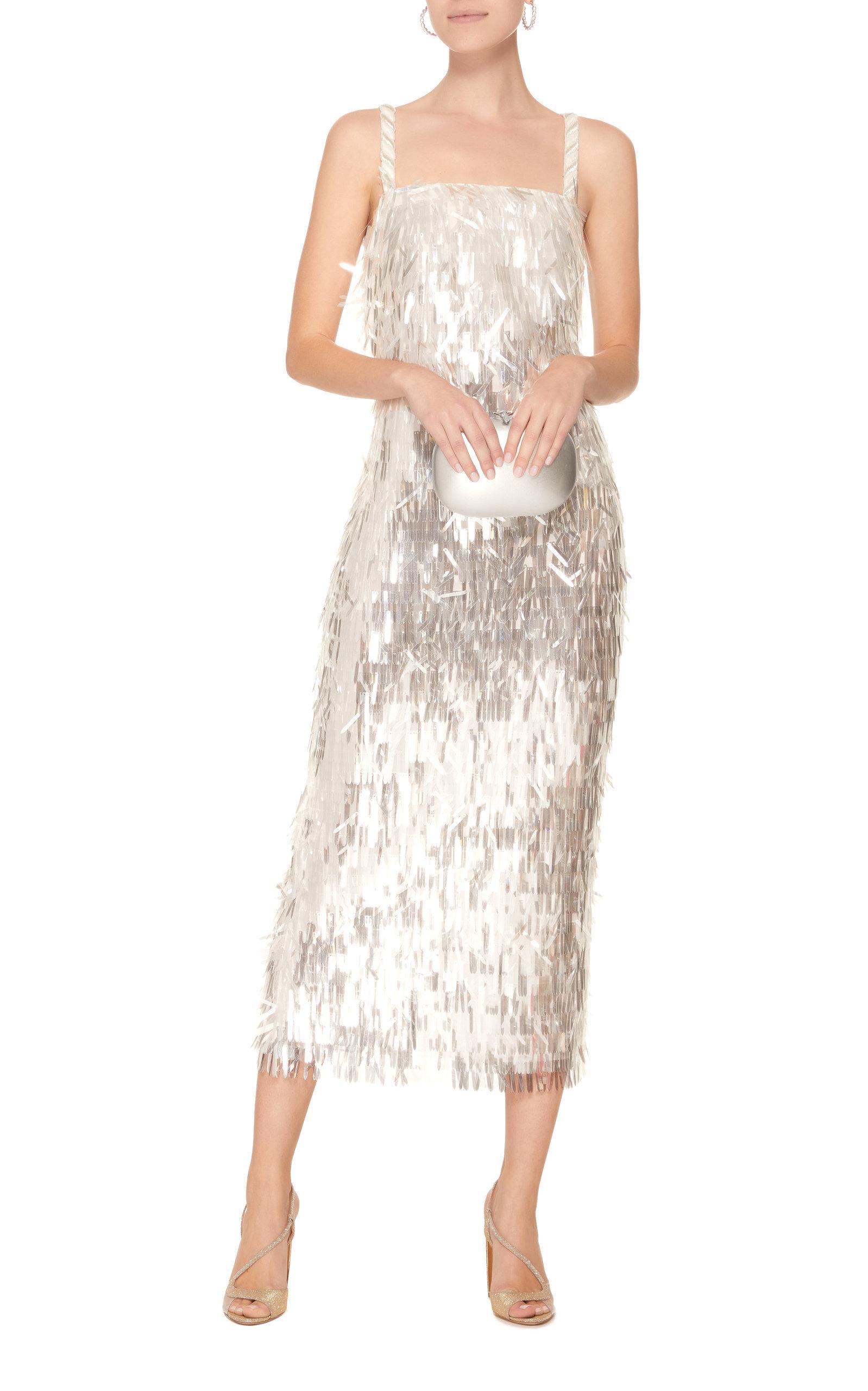 Sandra Mansour Ciel Electrique Sequined Midi Dress