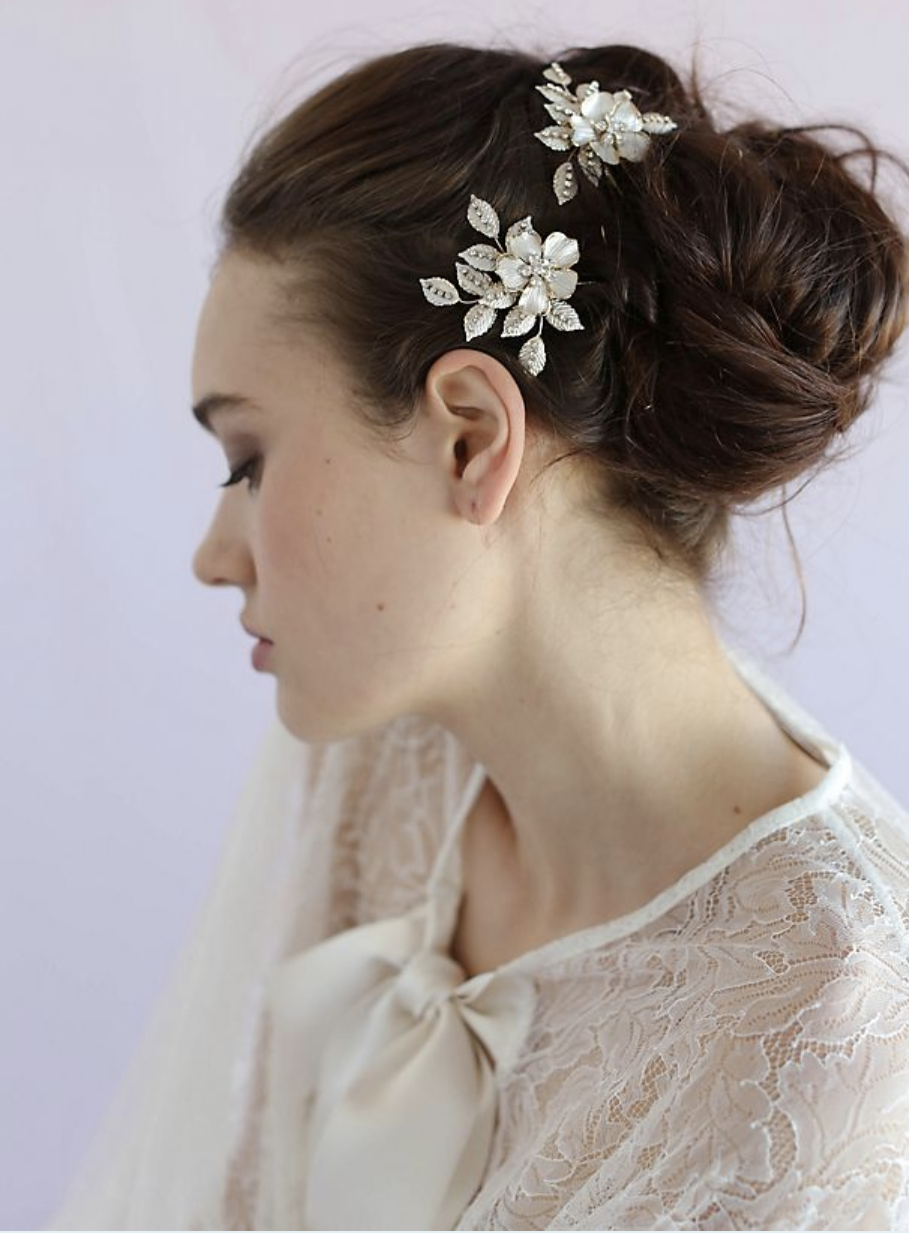 Twigs & Honey Crystal Speckled Blossom and Leaf Hair Pin Set