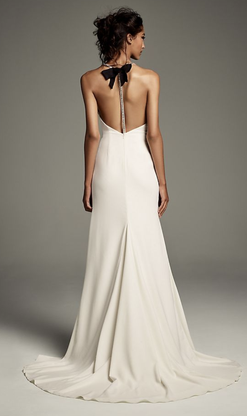 White by Vera Wang Crystal T-Back Stretch Crepe Slip Gown with Ribbon
