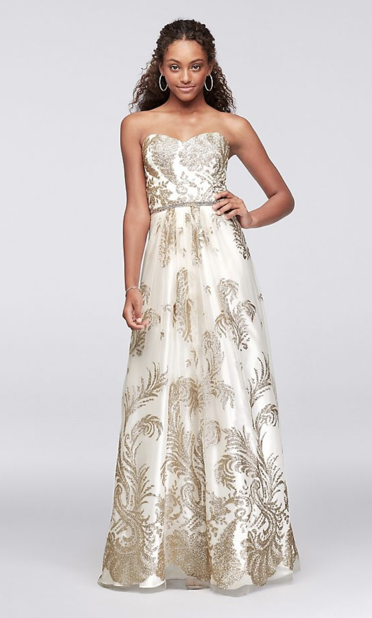 Cachet Strapless Glitter Brocade Gown with Crystal Belt
